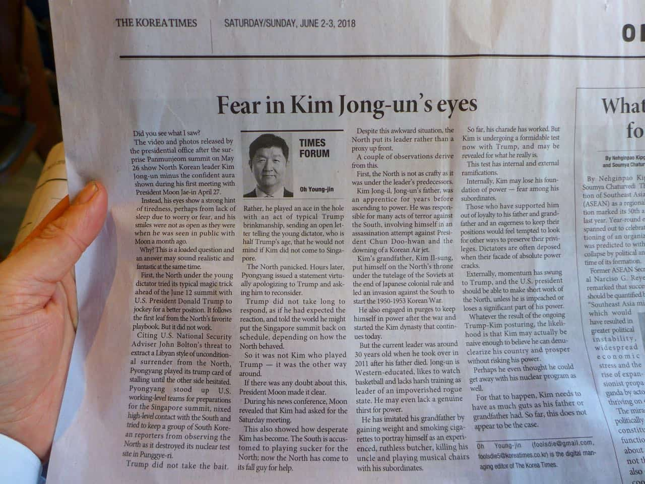 Korea Times news clipping
